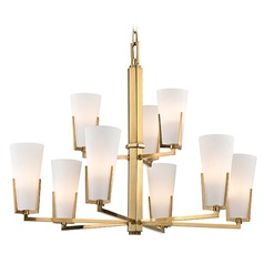 Upton 9 Light 2-Tier Chandelier - Aged Brass