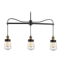 Mid-Century Modern Island Light Black & Brass Macauley by Savoy Hosue