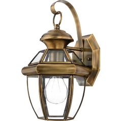 Outdoor Wall Light with Clear Glass in Antique Brass Finish