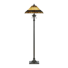 Floor Lamp with Art Glass in Bronze Patina Finish