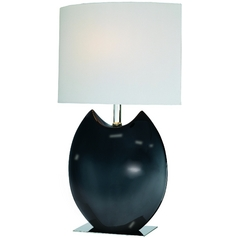 Lite Source Lighting Spazio Black Table Lamp with Cylindrical Shade