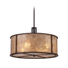Drum Pendant Light with Brown Mica Shade in Aged Bronze Finish