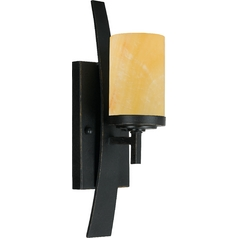 Bronze Wall Sconce Light with Onyx Cylinder Shade and Curved Band