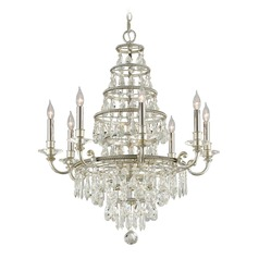 Troy Lighting Athena Silver Leaf and Polished Nickel Accents Crystal Chandelier