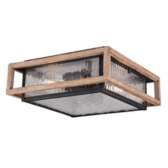 Dark Bronze and Distressed Oak Outdoor Ceiling Light by Vaxcel Lighting