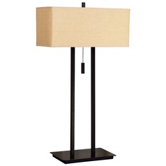 Modern Table Lamp with Beige / Cream Shades in Bronze Finish
