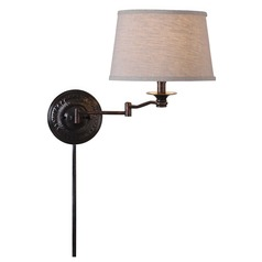 Swing Arm Lamp with Beige / Cream Shade in Copper Bronze Finish