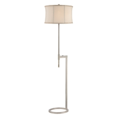 Modern Floor Lamp with Beige / Cream Shade in Satin Nickel Finish