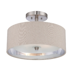 Modern Semi-Flushmount Light in Brushed Nickel Finish