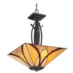 Pendant Light with Multi-Color Glass in Valiant Bronze Finish