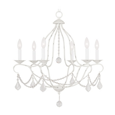 Livex Lighting Chesterfield Antique White Crystal Chandelier