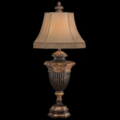 Fine Art Lamps Castile Antiqued Iron with Gold Leaf Table Lamp with Bell Shade