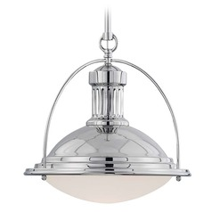 Savoy House Polished Nickel Pendant Light with Bowl / Dome Shade