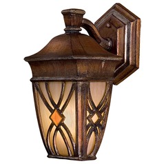 Minka Lighting Outdoor Wall Light with Beige / Cream Glass in Aston Patina Finish 9181-184-PL