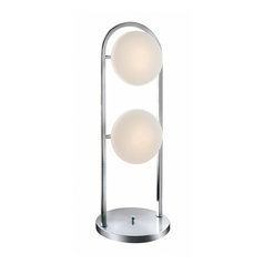 Modern Table Lamp with White Glass in Polished Steel Finish