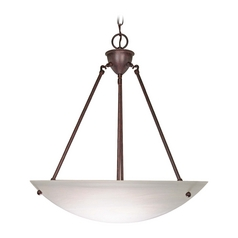 Pendant Light with Alabaster Glass in Old Bronze Finish