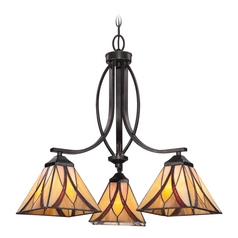 Chandelier with Multi-Color Glass in Valiant Bronze Finish