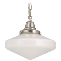 Design Classics Lighting 10-Inch Schoolhouse Mini-Pendant Light with Chain in Satin Nickel FB4-09 / GE10 / B-09