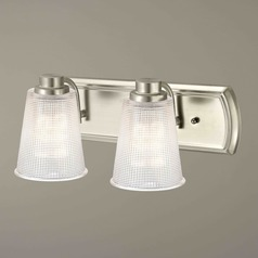 2-Light Vanity Light with Clear Prismatic Glass in Satin Nickel Finish