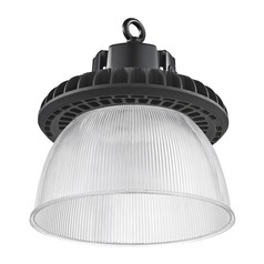 Prismatic Glass UFO LED High Bay Light Black 100-Watt 13550 Lumens 4000K 120 Degree Beam Spread