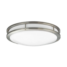 Progress Lighting Modern Flushmount Light with White in Brushed Nickel Finish P7250-09EBWB