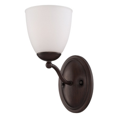 Sconce Wall Light with White Glass in Prairie Bronze Finish