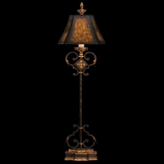 Fine Art Lamps Castile Antiqued Iron with Gold Leaf Console & Buffet Lamp with Bell Shade