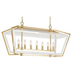 Robert Abbey Casper Polished Brass Island Light with Rectangle Shade
