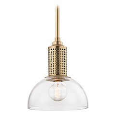 Hudson Valley Lighting Halcyon Aged Brass Mini-Pendant Light with Bowl / Dome Shade
