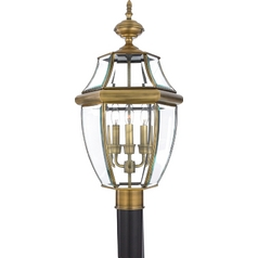 Post Light with Clear Glass in Antique Brass Finish