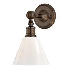 Modern Sconce Wall Light with White Glass in Distressed Bronze Finish