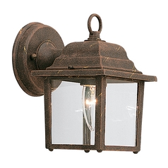 Outdoor Wall Light with Clear Glass in Autumn Gold Finish