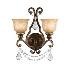 Crystal Sconce Wall Light in Bronze Umber Finish