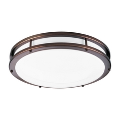 Progress Lighting Modern Flushmount Light with White in Urban Bronze Finish P7250-174EBWB