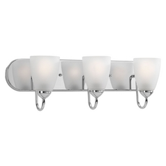 Progress Lighting Modern Bathroom Light with White Glass in Polished Chrome Finish P2708-15EBWB