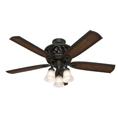 Hunter 54-Inch Brittany Bronze LED Ceiling Fan with Light with Hand-Held Remote