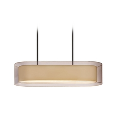 Modern Island Light with Brown Shades in Black Brass Finish