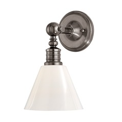Modern Sconce Wall Light with White Glass in Historic Nickel Finish