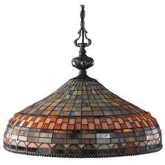 Chandelier with Tiffany Glass in Classic Bronze Finish