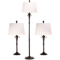 Table and Floor Lamp Set with White Shades in Oil Rubbed Bronze Finish