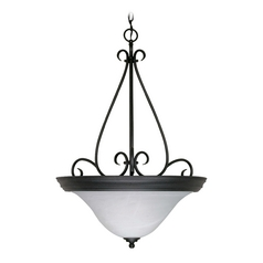 Pendant Light with Alabaster Glass in Textured Black Finish