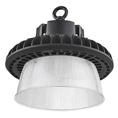 Prismatic Glass UFO LED High Bay Light Black 150-Watt 20270 Lumens 4000K 120 Degree Beam Spread