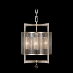 Fine Art Lamps Singapore Moderne Silver Leaf Pendant Light with Cylindrical Shade