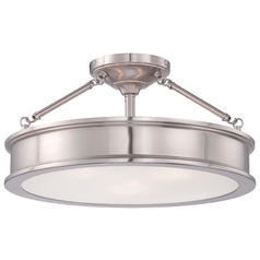 Minka Harbour Point Brushed Nickel Semi-Flushmount Light