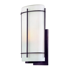 Outdoor Wall Light with White Glass in Olde World Iron Finish