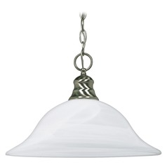 Pendant Light with Alabaster Glass in Brushed Nickel Finish
