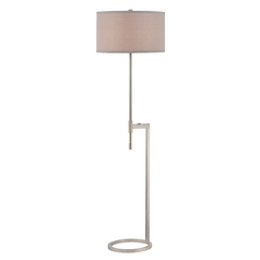 Modern Floor Lamp with Pewter Shade in Satin Nickel Finish