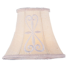 Hand Embroidered Bell Lamp Shade with Clip-On Assembly