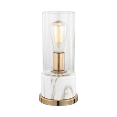 Dimond Richmond Hill White Faux Marble and Gold Table Lamp with Cylindrical Shade