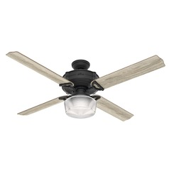 Hunter 60-Inch Brunswick Natural Iron Ceiling Fan with Light with Handheld Remote